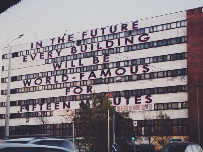 In the future every building will be world-famous for fifteen minutes Vilnius Street Art Vilnius Lithuania Streetart Meaningful  City Life Urban Landscape The Changing City Uptown by Mobstr. Mobstr
