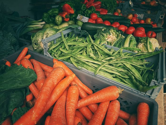High angle view of chopped vegetables in market