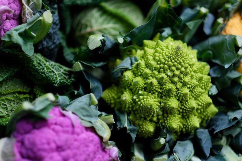 Close-up of cauliflowers at market
