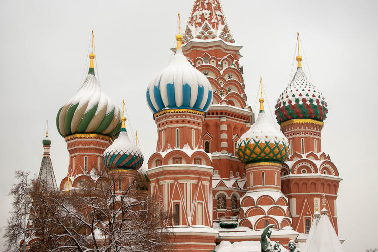 Building Exterior Architecture Built Structure Dome Place Of Worship Nature Religion Belief Building Travel Destinations Spirituality No People Day Tree Sky Plant City Spire  Ornate St. Basil's Cathedral Russia Snow Covered Moscow