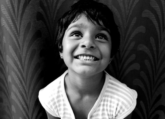 Shot with Moto G4 Plus...Plz do comment... Taking Photos Check This Out Cheese! Relaxing Mobile Photography Black And White Monochrome Black And White Photography Kids Portrait Kid Girl Smiles :) Happy Kiddo :)  Monochrome Photography EyeEm Selects Black And White Friday Press For Progress