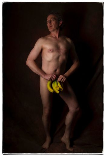 That's bananas. Male Form Male Body Figure Study Nude-Art Shirtless One Man Only One Person Full Length Strength Adult Studio Shot Portrait