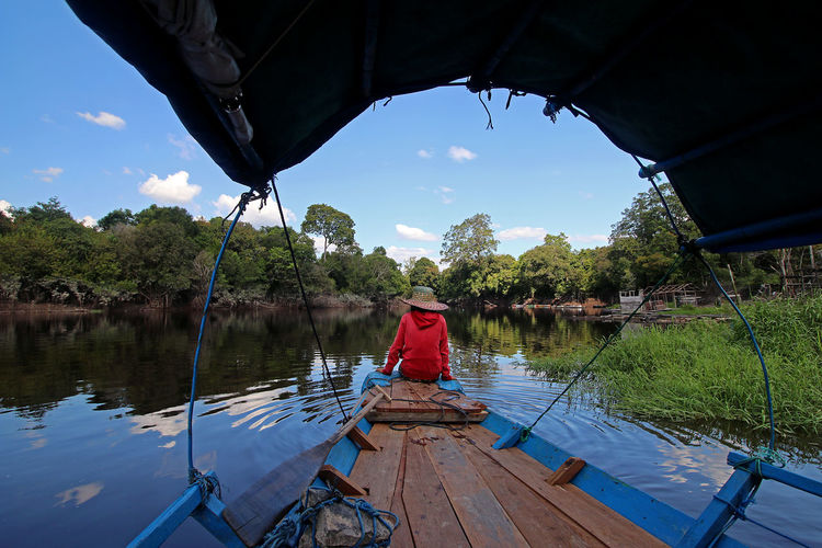Alone Capture Tomorrow Water Nautical Vessel Lake Men Reflection Full Length Fisherman Sky Asian Style Conical Hat Countryside