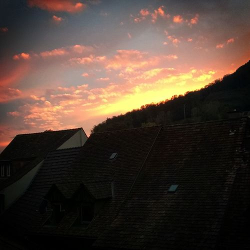 Sky over Switzerland... Beauty In Nature Cloud - Sky House Nature No People Outdoors Roof Sky Sunset
