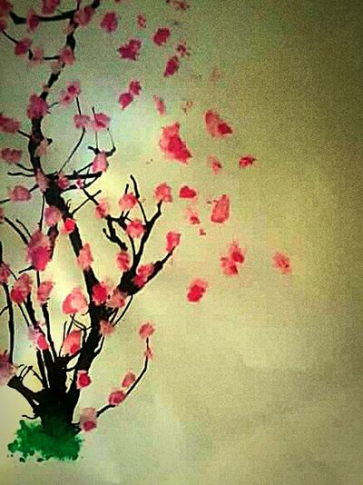Selfmade Artwork Flower Tree Schoolproject OldButGold Beauty In Nature Flowers Pink Color Freshness Nature Schooltime Finishschool Project ArtWork Drawing ✏ Love To Take Photos ❤ Flower Head No People Plant Day