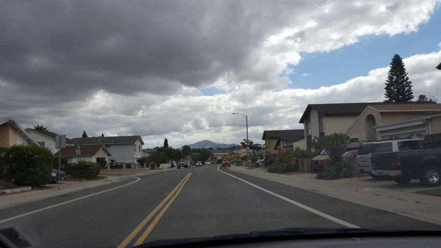 Cloud Cloud - Sky Cloudy Country Road Day Diminishing Perspective Land Vehicle Mode Of Transport Nature No People Outdoors Overcast Road Road Marking Sky The Way Forward Transportation Vanishing Point Weather Windshield