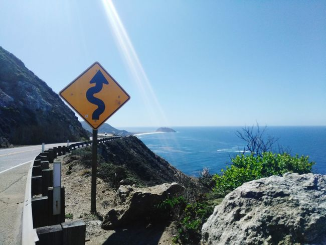 EyeEm Selects No People Road Sign Guidance Outdoors Day Sea Sky Water Nature Close-up Big Sur CALIFORNIA Big Sur Big Sur, Ca. California Cliffs Southern California Ocean Pacific Ocean Sea Sea And Sky