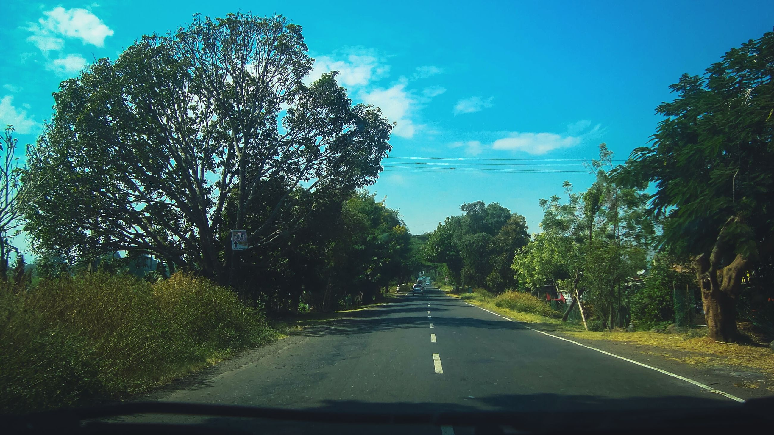 tree, car, transportation, sky, windshield, land vehicle, car interior, transparent, nature, the way forward, road, mode of transport, vehicle interior, car point of view, day, no people, growth, beauty in nature, cloud - sky, scenics, outdoors, windscreen, water