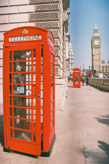 35mm Film Analogue Photography Big Ben City Life Communication Connection Culture Film Photography London Old-fashioned Pay Phone Red Street Photography Telecommunications Equipment Telephone Telephone Booth Telephone Box London Lifestyle