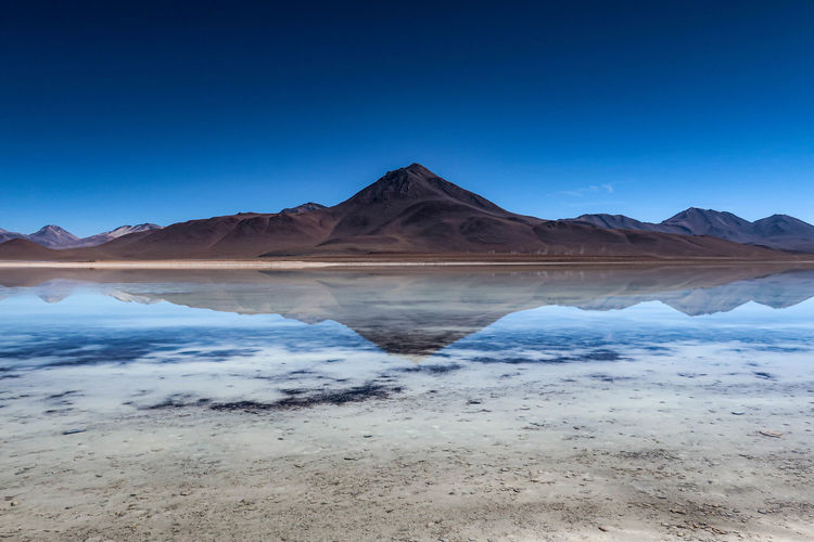 View of a mountain in the salt desert of uyuni in bolivia.