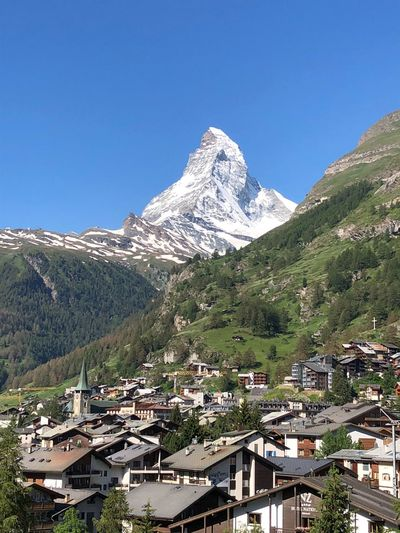 Matterhorn Landscape_Collection Landscape_photography Copy Space Mountain Sky Architecture Building Exterior Built Structure Clear Sky Nature Mountain Range Beauty In Nature Outdoors Blue Sunlight No People Scenics - Nature Tranquil Scene