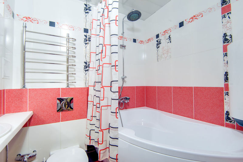 Bathroom Domestic Bathroom Hygiene Domestic Room Sink Indoors  White Color Red Home No People Faucet Absence Flooring Wall - Building Feature Tile Household Equipment Mirror Architecture Empty Seat Luxury Clean