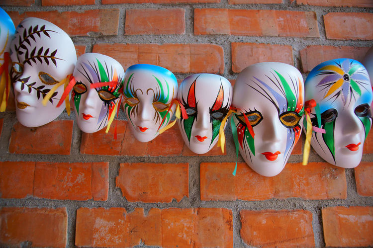 Architecture Art Brick Clown Day Decoration Dress Up Entertainment Especially Face Five Objects Furnishings Happy In A Row Joyful Laughter Mask Masquerade Multi Colored No People Outdoors Painted Strange Wall Wall - Building Feature