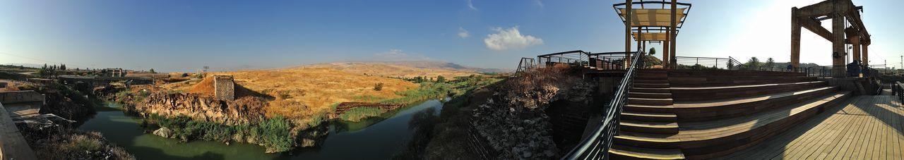 Panoramic view of gazebo against sky