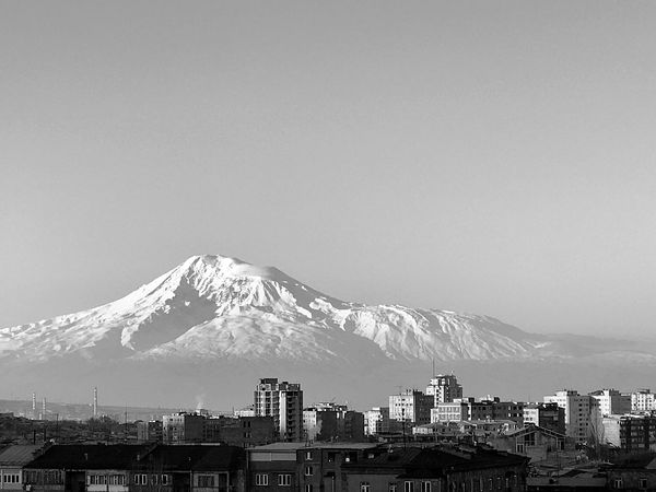 Mountain Building Exterior Architecture Clear Sky Sky City Outdoors No People Day Shushannaagapi Shushannaagapiphoto From My Window Window View Yerevan Armenia Ararat  Ararat Mountain Blackandwhite Nature EyeEmNewHere Mobilephotography IPhoneography Iphoneonly Iphonephotography Welcome To Black