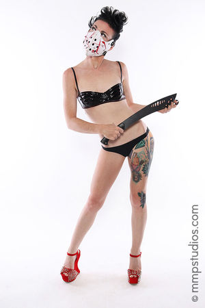 @mmpstudios_com @melvinmaya Studio Shot White Background One Person Front View Standing Beauty Photography Cannon Photographer Model Houston Texas Mask Masked Blade Knife HighHeels Gorgeous Beautiful Creepy Horror Tattoos Lingerie