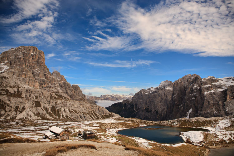 Dolomite Alps, Italy, Europe, Drei Zinnen area at Fall Adriatic, Dolomite, Drei Zinnen, Italy, Adventure, Alps, Area, Coast, Dolmatien, Europe, European, Fall, Hiking, Landscape, Mountains, Nature, Outdoors, Rocks, Sea, Sky, Summer, Sunlight Sky Water Scenics - Nature Cloud - Sky Beauty In Nature Mountain Rock Nature Tranquility Tranquil Scene Non-urban Scene Rock Formation Rock - Object Landscape Solid Day Environment Idyllic No People Mountain Range Outdoors Formation Arid Climate