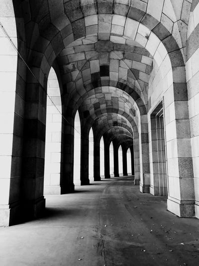 Black White EyeEm Best Shots Architecture Black White Bw Photography Historic Building Built Structure Arch Direction Building The Way Forward No People Day Arcade Indoors  Colonnade In A Row History The Past Corridor Empty Old Abandoned Repetition