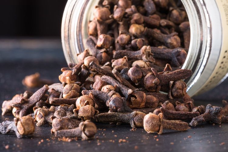 Close-up of clove in container