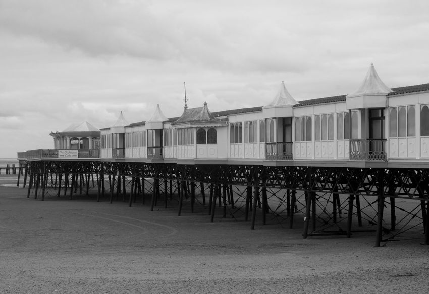 Black And White Photography Built Structure Lytham St Annes Outdoors Pier Sand Tide Out Uk