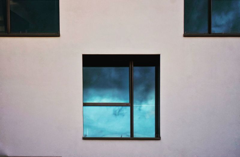 Close-up of window on wall of building