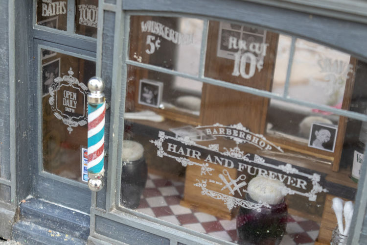 Anonymous hair salon Anonymous Hair Salon Miniature Miniatures Shop Window Text Store Building Exterior