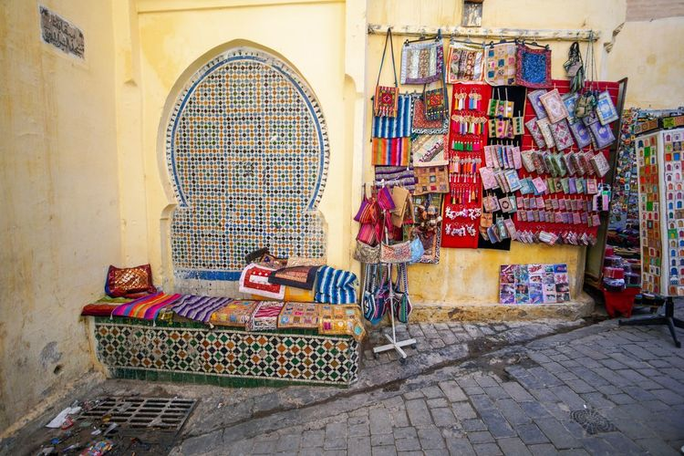 Juxtaposed Fes Morocco Medina Medina De Fez Fes Morocco Ancient Day Architecture For Sale Multi Colored Abundance Built Structure Large Group Of Objects Retail  Choice Small Business Market Variation Real People People Women Stack Outdoors Business Collection Sale Consumerism Retail Display