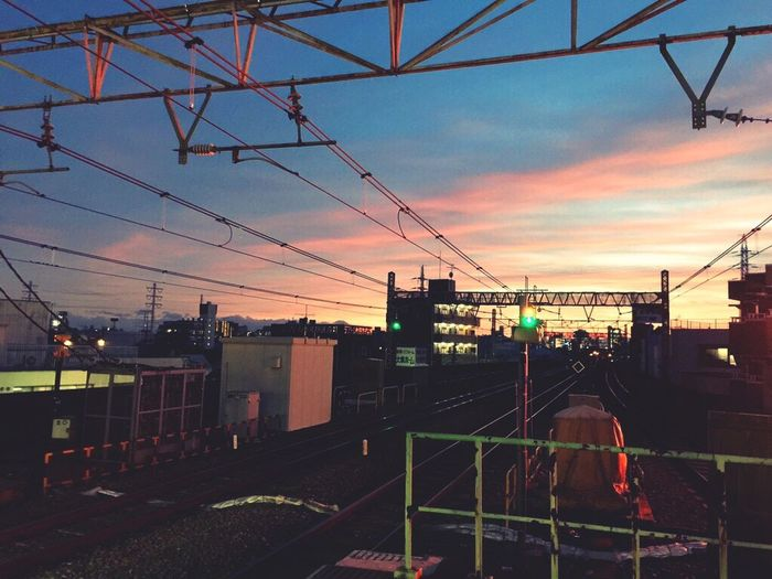 Train Station Train Railway Sunset Pink Blue Sky
