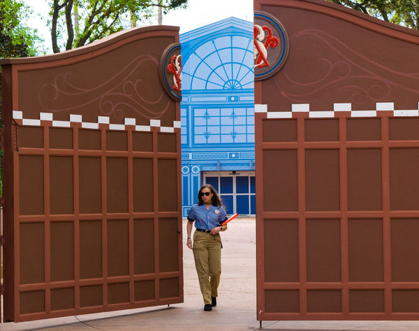 Colors Disney Fun Gate Architecture Communication Day Epcot Front View Full Length Looking At Camera One Person Outdoors People Portrait Real People Standing Tree Young Adult Young Women