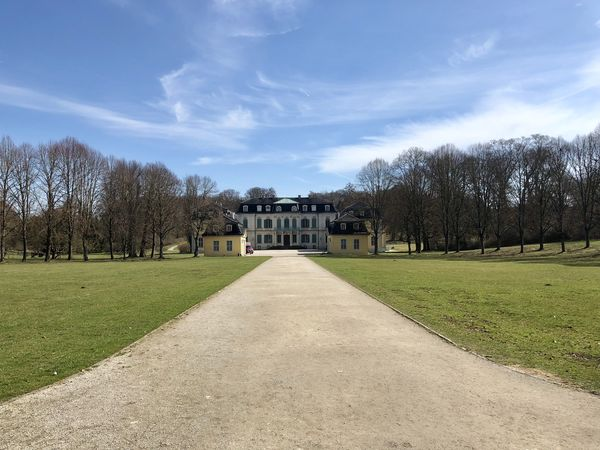 Schloss Wilhelmstal Architecture Beauty In Nature Building Building Exterior Built Structure Cloud - Sky Day Diminishing Perspective Direction Field Footpath Grass Land Nature No People Outdoors Plant Scenics - Nature Sky The Way Forward Tree