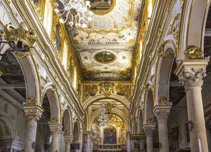 Matera Italy Unesco UNESCO World Heritage Site Architecture Built Structure Art And Craft Architectural Column Building Ceiling Gold Colored Indoors  Place Of Worship Travel Destinations No People Religion Belief Low Angle View Arch Ornate Sculpture Gold Architecture And Art Altar Mural