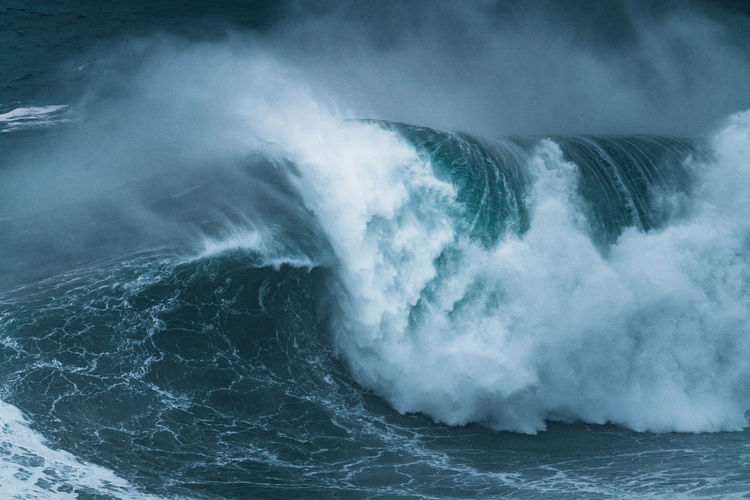 Giant wave breaking  in sea