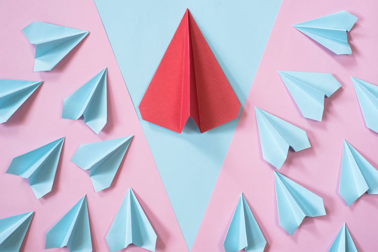 Directly above shot of paper airplanes on table