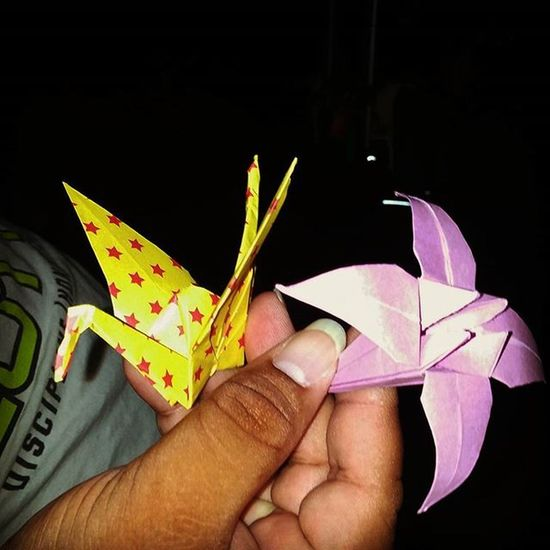 Origami brings people together! On the bus ride home, the guy in front of me starts folding a flower. So I of course whip on my paper I always carry with me, fold a crane and we exchanged. I also gave him some of my colorful paper to share more love! Origamibringspeopletogether Origami Cranelife Origamiflower Buslife Waikikitokaaawa