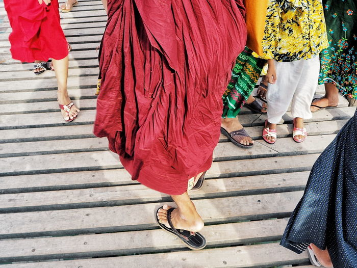 Travel Destinations Travel Photography Travel Myanmar U-bein Bridge,Myanmar Low Section Women Females Men Togetherness Human Leg Red Standing Walking Well-dressed Foot Sandal Human Foot Feet