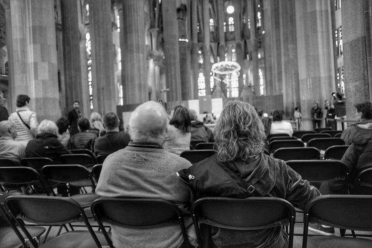 Group of people sitting in church