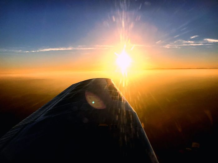 Sunset flying 😍 Sun Sky Nature Landscape One Person Beauty In Nature Outdoors Day Aircraft Airplane Flugzeug Sunlight Scenics Piper Pa28 Pilot Wingview