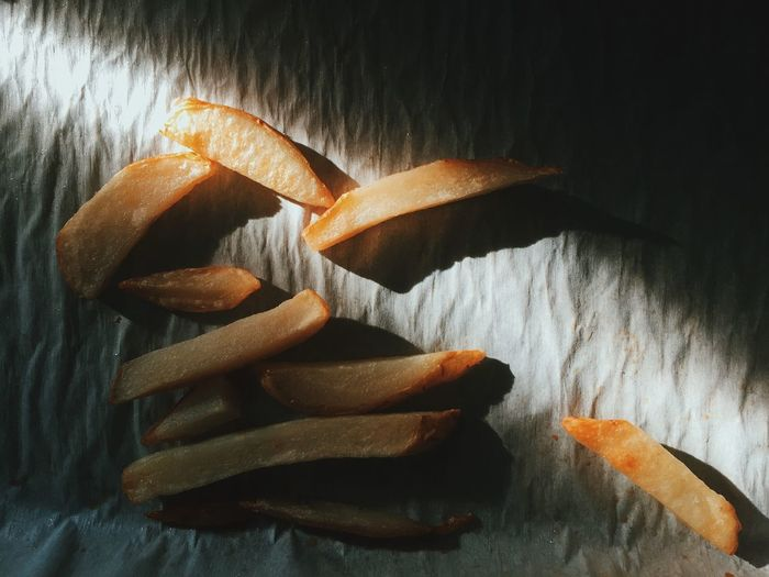 Close-up high angle view of fried potato chips