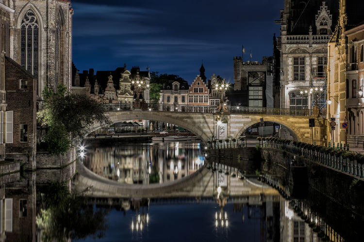 Gent, Belgium Arch Bridge Architecture Belgium Built Structure City Gent Historical Building Long Exposure Old Buildings Reflection Reflection Travel Destinations Water
