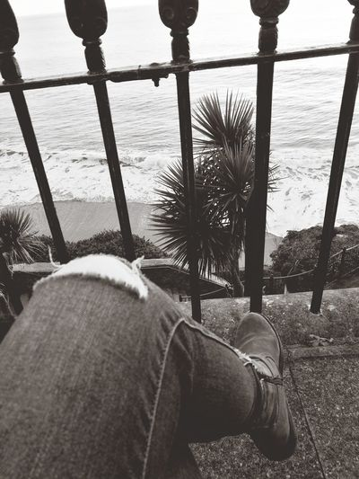 Chillin... Pembrokeshire Wales❤ Relaxing Wintersun Palm Tree Blackandwhite Seaside Ocean View Railing Human Leg Low Section One Person Shoe Day Adult