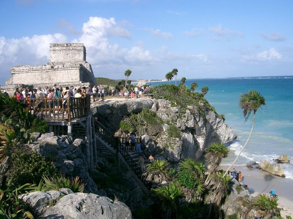 Ancient Civilization Architecture Built Structure History Mayan Ruins Outdoors People Rock - Object Sea Sky Tulum , Rivera Maya. Turist
