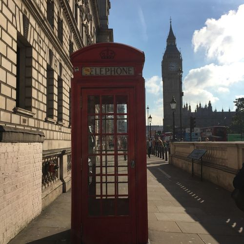 London Lifestyle Architecture Telephone Booth Cultures Building Exterior Red Travel Destinations Built Structure City Clock Tower Pay Phone Outdoors Clock No People Sky Day Cityscape