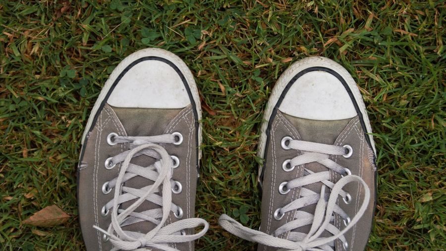 Low section of person wearing canvas shoes on field