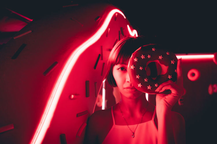 Adult Beautiful Woman Beauty Dark Fashion Headshot Human Body Part Human Face Illuminated Indoors  Light - Natural Phenomenon Neon Night Nightlife One Person Portrait Red Women Young Adult Young Women