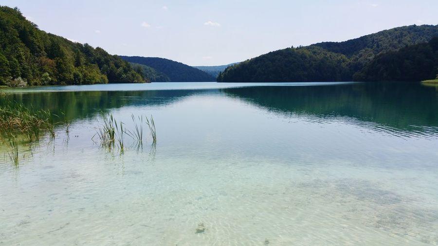 Water Lake Mountain Reflection Calm Standing Water Remote Majestic Blue Cloud - Sky Idyllic Lakeshore Tranquil Scene Croatia Plitvice National Park