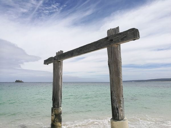 hamelin bay Margaret River Region Hamelin Bay Beach Sea Cross Tranquility Horizon Over Water Wooden Post Outdoors Landscape Sand Cloud - Sky Beauty In Nature Nature Sky