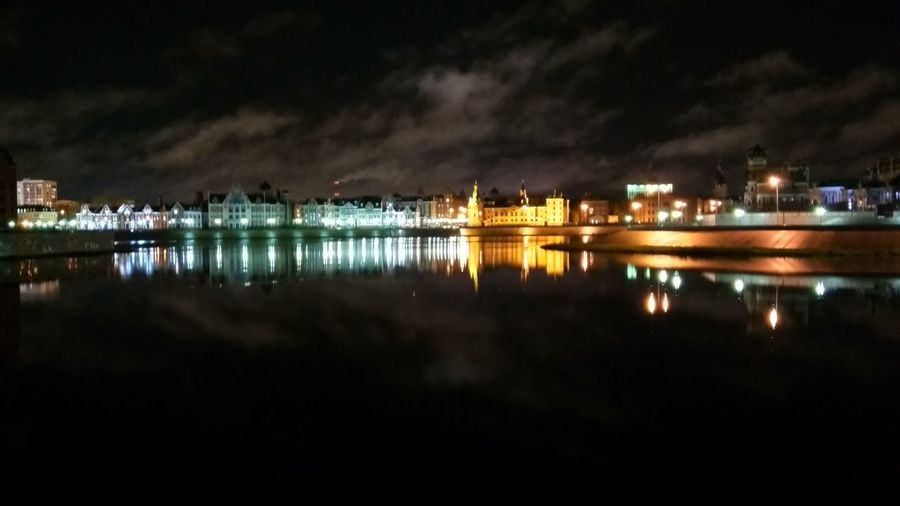 Reflection of city in water at night