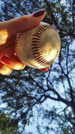 One Person Human Body Part Tree Human Hand Holding Outdoors People Day Low Angle View Baseball - Sport Real People Close-up Sky Adults Only Nature Adult