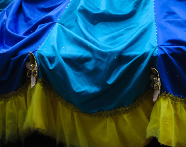 Skirt Colorful Blue Yellow Backgrounds Full Frame Textile Abstract Close-up My Best Photo