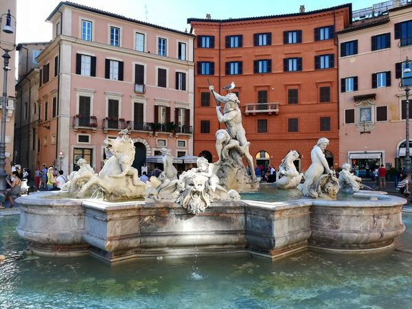 Architecture Building Exterior Built Structure Animal Representation Sculpture Statue Incidental People Outdoors Day Water Christmas Decoration Travel Destinations City Gondola - Traditional Boat Sky Rome Rome Italy🇮🇹 Piazza Navona, Rome Italy PiazzaNavona People Place Of Heart